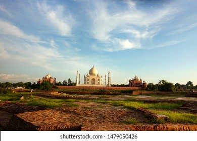 Taj Mahal in Agra, Uttar Pradesh, India, the architecture of love with white marble, pink and precious gems