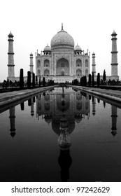 Taj Mahal in black and white, India .