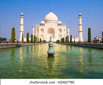 Taj Mahal with blue sky background