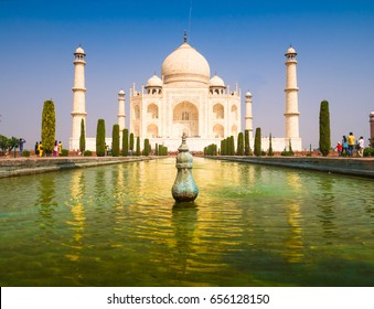 Taj Mahal with blue sky background vintage style concept
