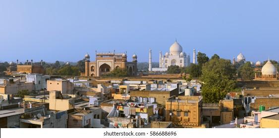 Taj Mahal at evening.