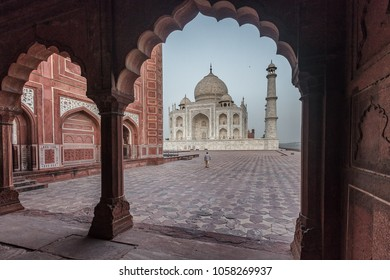 The Taj Mahal framed by a side building