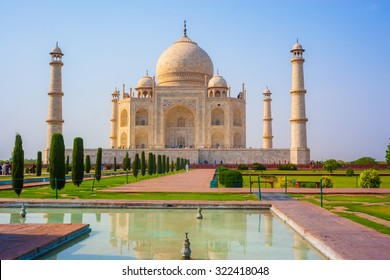 Taj mahal front view,reflection in water