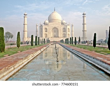 Taj Mahal. India. Agra. An immense mausoleum of white marble on the south bank of the Yamuna river.