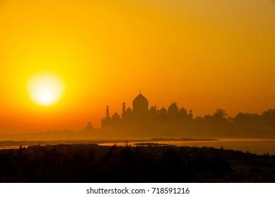 Taj Mahal in landscape