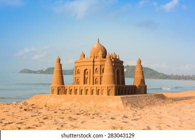 Taj Mahal made of sand on the beach
