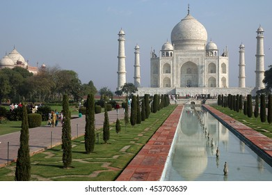 The Taj Mahal mausoleum and pond surrounded by gardens outside, city of Agra , India