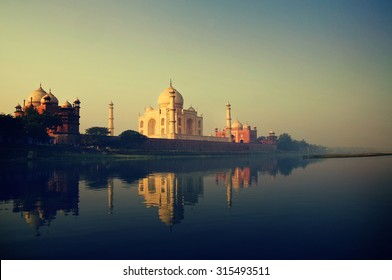 Taj Mahal Memorial Travel Destination 7 Wonders Concept