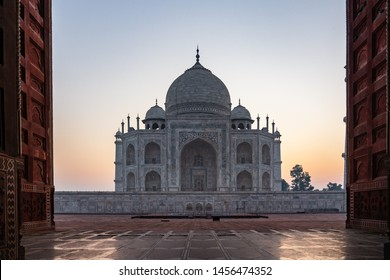 Taj Mahal mosque world wonder in India at sunrise