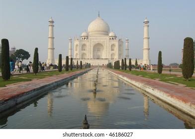 Taj Mahal palace in reflection