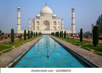 Taj Mahal with reflecting pool in Agra, Uttar Pradesh, India. It was build in 1632 by Emperor Shah Jahan as a memorial for his second wife Mumtaz Mahal.