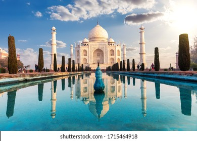 Taj Mahal and its reflection, famous view of India, Agra