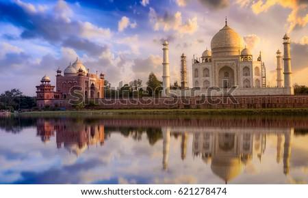 Taj Mahal scenic sunset