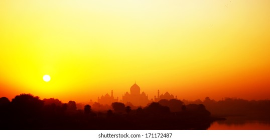 Taj Mahal at sunrise in India