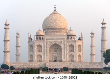 Taj Mahal at sunrise UNESCO World Heritage Site Agra Uttar Pradesh India Asia