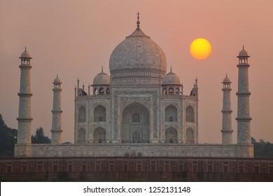 Taj Mahal at sunset in Agra, Uttar Pradesh, India. Taj Mahal was designated as a UNESCO World Heritage Site in 1983.
