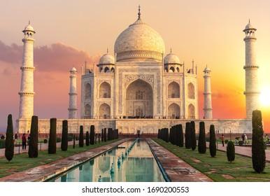 Taj Mahal at sunset, beautiful scenery of India