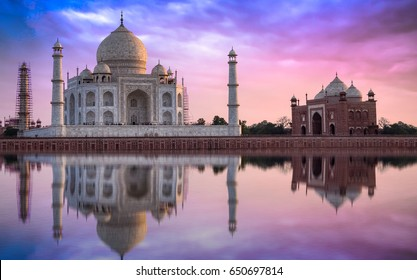 Taj Mahal at sunset with vibrant sky. Taj Mahal is a white marble mausoleum built by Mughal emperor Shah Jahan on the banks of the Yamuna river. A UNESCO World Heritage site.