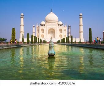 Taj Mahal and tourist activity inside Taj Mahal