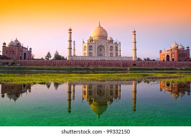 TAJ mahal with tri color flag, india