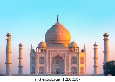 Taj Mahal. Unidentified people walk around Taj Mahal - Agra, india