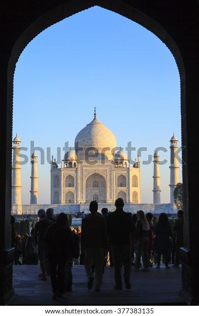 Taj Mahal View Black Arch Silhouette Stock Photo Edit Now