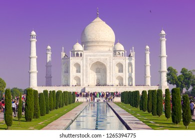 Taj Mahal with violet sky