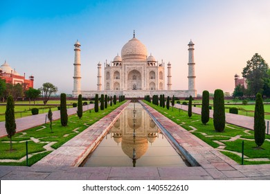 Taj Mahal is a white marble mausoleum on the bank of the Yamuna river in Agra city, Uttar Pradesh state, India
