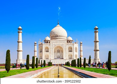 The Taj Mahal is a white marble mausoleum located in the city of Agra, India. Taj Mahal is one of Seven Wonders of the World.