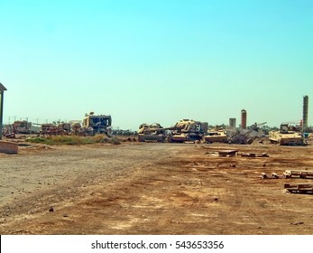 TAJI, IRAQ - CIRCA 2006: Junkyard for Sadaam-era military equipment on a Forward Operating Base