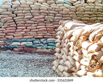 TAJI, IRAQ - CIRCA 2007: Sand bagged bunkers on Forward Operating Base Taji