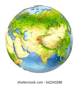 Tajikistan highlighted in red on Earth. 3D illustration with highly detailed realistic planet surface isolated on white background. Elements of this image furnished by NASA.