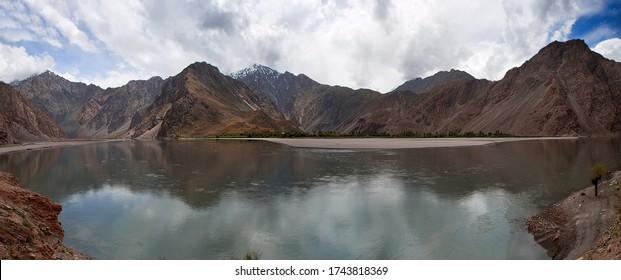 Tajikistan Mountains Lake Nature Scape