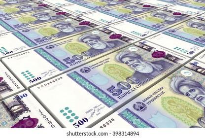 Tajikistani Somoni bills stacks background. 3D illustration.