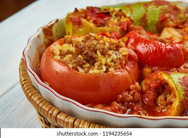 Tajin Mahshi - Mixed Stuffed Vegetables, Libyan Food