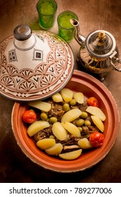 tajine with meat potatoes tomatoes and green olives