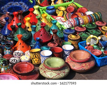 tajines and pots  made of clay on market in Marocco