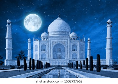 tajmahal in blue light shade with full moon