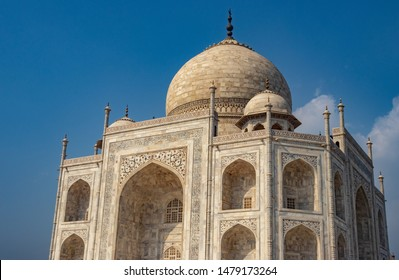 tajmahal image with blue sky background image taken at agra uttar pradesh india. It is one of the seven wonders of the world as well as UNSCO world heritage site. It is the symbol of love.