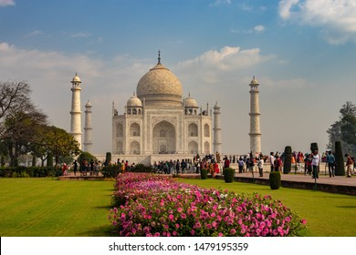 tajmahal image is take at agra uttar pradesh india on Apr 2 2019. It is one of the seven wonders of the world as well as UNSCO world heritage site. It is the symbol of love.