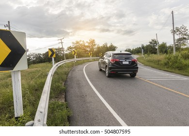 TAK PROVINCE,SEPTEMBER 26 - car is blurred from the speed on September ,2016 at Tak Province,Thailand