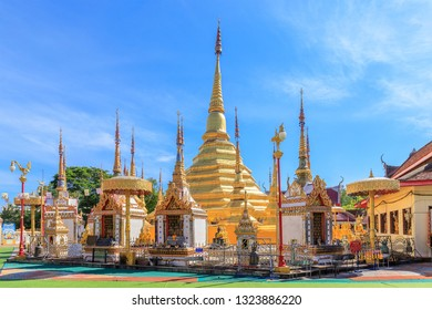 Tak, Thailand - December 24, 2018: Wat Phra Borommathat Temple at Ban Tak distict. The golden Myanmar style pagoda contain Buddha relic inside.