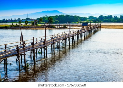 TAK, THAILAND - January 26, 2019 : Bamboo bridge over the Ping river at Ban Tak district, Tak province.