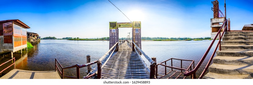 TAK, THAILAND - January 26, 2020 : Panoramic view of Ping river at Ban Tak district, Tak province.
