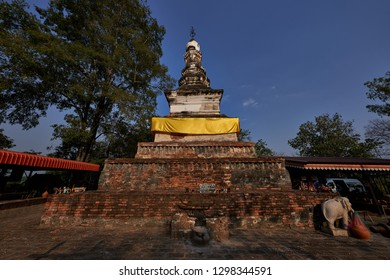 Tak, Thailand - January 28, 2019 : Chedi Yutthahatthi Commonly called by local people as Chedi Chon Chang in Honour of King Ramkhamhaeng the Great located at Bantak, Tak, Thailand