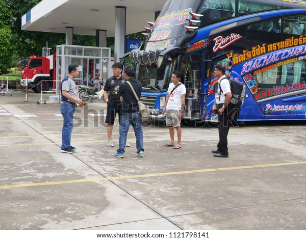 Tak, Thailand - June 18 2018 : The tourist are traveling by bus to sight seeing at Tak province ,Thailand.