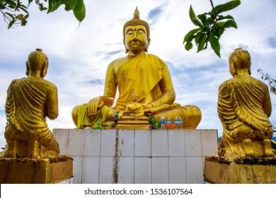 "Tak, Thailand. - October 13, 2019 : Buddha statue at the mountain of ""LerGuaDa"" or ""Ler Gwa Dor"" Tak province, Thailand, Asia."