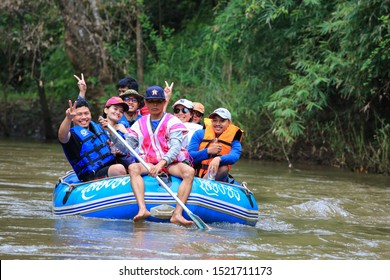 Tak, Thailand - October 2019: Tourists are riding Rafting in Umphang Wildlife Sanctuary , Thi Lo Su Waterfall , Tak province , Thailand