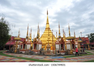TAK, THAILAND - September 3, 2019 : Wat Phra Borommathat Ban Tak will have a golden pagoda that imitates the Shwedagon pagoda that is beautiful in the style of Burmese art.