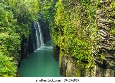 Takachiho gorge and waterfall in Miyazaki, Kyushu, Japan.